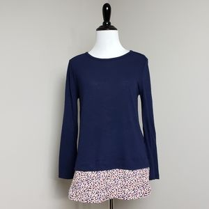 J. Crew Floral Silky Hem Navy Blue Long Sleeve Top